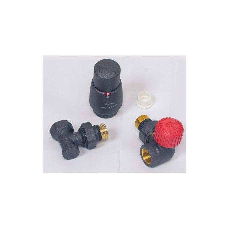 Zawór termostatyczny kątowy grzejnikowy antracyt