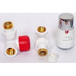 Zawór termostatyczny kątowy grzejnikowy biały